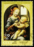 Bennois Madonna 1478, Leonardo da Vinci (1452-1519), Foreign Paintings in Soviet Museums serie, circa 1971. MOSCOW, RUSSIA - NOVEMBER 10, 2018: A stamp printed royalty free stock image