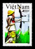 Archery, Olympic Games serie, circa 1992. MOSCOW, RUSSIA - NOVEMBER 25, 2017: A stamp printed in Vietnam shows Archery, Olympic Games serie, circa 1992 Stock Photography