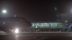 Aeroflot aircraft A320 taxiing at Sheremetyevo Airport, night view stock footage