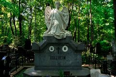 Moscow, Russia/Novodevichy cemetery - white marble statue royalty free stock photo