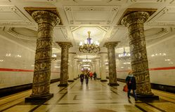Ancient metro station in Moscow, Russia royalty free stock images