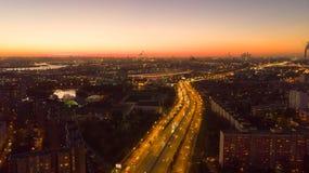 Beautiful sunset in the city. Aero photo. royalty free stock image