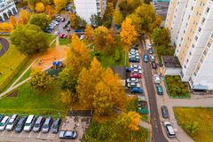 Moscow, Russia - October 09. 2017. Courtyard of an apartment house in fourteenth district of Zelenograd Stock Images