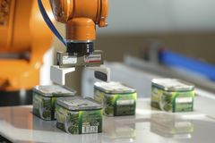 Demonstration of canned food robot in Moscow stock image