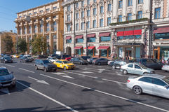 Moscow, Russia - October 02.2016 The movement of cars on Mokhovaya street in downtown Royalty Free Stock Photos