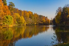 MOSCOW, RUSSIA - October 17, 2018: Panoramic view to the pond in Tsaritsyno park