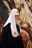 Patriarch Kirill of Moscow and All Russia at 7th general church. Moscow, Russia - October 25, 2017: Patriarch Kirill of Moscow and All Russia attend a 7th stock photography