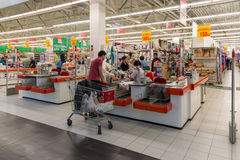 Moscow, Russia - October 01.2016. People about cash buyers in store Auchan in shopping center Gagarin Stock Image
