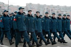 Pupils of the Cadet Corps of the Ministry of Emergency Situations are preparing for the parade on November 7 in Red Square. MOSCOW, RUSSIA - OCTOBER 23, 2013 stock photo