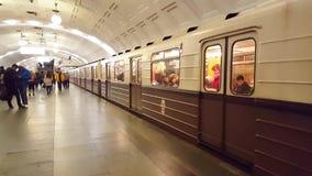 Moscow, Russia-October 9.2016. Retro train Sokolniki - nominal train in subway Okhotny Ryad stock footage