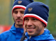 Russian striker and team captain Fedor Smolov in training sessio. Moscow, Russia - October 5, 2017. Russian striker and team captain Fedor Smolov in training royalty free stock images