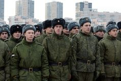 Soldiers of internal troops of the Ministry of Internal Affairs of Russia on the parade ground. stock photo