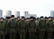 Soldiers of internal troops of the Ministry of Internal Affairs of Russia on the parade ground. royalty free stock photography