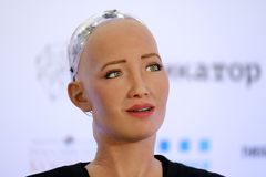 Sophia humanoid robot at Open Innovations Conference at Skolokovo technopark Stock Images