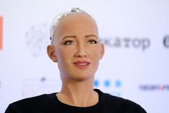 Sophia humanoid robot at Open Innovations Conference at Skolokovo technopark. Moscow, Russia - October 1, 2017: Sophia humanoid robot at Open Innovations Stock Images