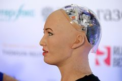 Sophia humanoid robot at Open Innovations Conference at Skolokovo technopark. Moscow, Russia - October 1, 2017: Sophia humanoid robot at Open Innovations Stock Photography