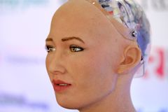 Sophia humanoid robot at Open Innovations Conference at Skolokovo technopark. Moscow, Russia - October 1, 2017: Sophia humanoid robot at Open Innovations Stock Photos