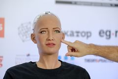 Sophia humanoid robot at Open Innovations Conference at Skolokovo technopark Stock Image