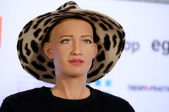Sophia humanoid robot at Open Innovations Conference at Skolokovo technopark. Moscow, Russia - October 1, 2017: Sophia humanoid robot speaking Russian at Open Stock Photos