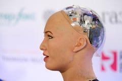 Sophia humanoid robot at Open Innovations Conference at Skolokovo technopark Royalty Free Stock Photography
