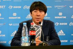 South Korean national football team coach Shin Tae-yong at a press conference following international test match against Russia v. Moscow, Russia - October 7 royalty free stock image
