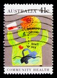 Drinking Driving, Health serie, circa 1990. MOSCOW, RUSSIA - OCTOBER 3, 2017: A stamp printed in Australia shows Drinking Driving, Health serie, circa 1990 Stock Photos