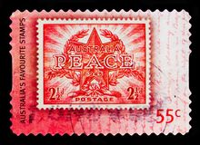 Peace and Victory, Favourite Stampsserie, circa 2009. MOSCOW, RUSSIA - OCTOBER 3, 2017: A stamp printed in Australia shows Peace and Victory, Favourite Royalty Free Stock Image
