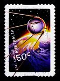 Sputnik 1957, Blast off - 50 years in space serie, circa 2007 Stock Images