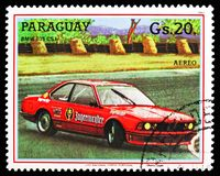 Bmw 635 Csi, Touring car serie, circa 1987. MOSCOW, RUSSIA - OCTOBER 21, 2018: A stamp printed in Bulgaria shows Bmw 635 Csi, Touring car serie, circa 1987 stock photo