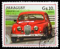 Jaguar MK II 3.8, Touring car serie, circa 1987. MOSCOW, RUSSIA - OCTOBER 21, 2018: A stamp printed in Bulgaria shows Jaguar MK II 3.8, Touring car serie, circa stock photography