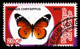 Danaus Chrysippus, Butterflies serie, circa 2010. MOSCOW, RUSSIA - OCTOBER 21, 2018: A stamp printed in Congo shows Danaus Chrysippus, Butterflies serie, circa royalty free stock photography
