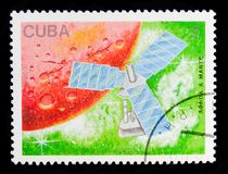 Mars probe, Satellites and Space Probes serie, circa 1988. MOSCOW, RUSSIA - OCTOBER 1, 2017: A stamp printed in Cuba shows Mars probe, Satellites and Space royalty free stock photography