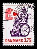 `Love letter`, Cartoon Characters serie, circa 1992. MOSCOW, RUSSIA - OCTOBER 3, 2017: A stamp printed in Denmark shows `Love letter`, Cartoon Characters serie stock image