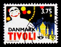 NORDEN 150 years Tivoli, `Pierrot`, Twinned Towns serie, circa 1993. MOSCOW, RUSSIA - OCTOBER 3, 2017: A stamp printed in Denmark shows NORDEN 150 years Tivoli Royalty Free Stock Photo