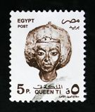 Queen Ti, Landmarks, Symbols and Artworks serie, circa 1997. MOSCOW, RUSSIA - OCTOBER 1, 2017: A stamp printed in Egypt shows Queen Ti, Landmarks, Symbols and Royalty Free Stock Photography