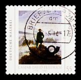 MOSCOW, RUSSIA - OCTOBER 21, 2017: A stamp printed in German Fed. Eral Republic shows Wanderer above the Sea of Fog painting by Caspar David Friedrich, serie Royalty Free Stock Image