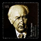 Portrait of Theodor Heuss, 125th Birth Anniversary, serie, circa 2009. MOSCOW, RUSSIA - OCTOBER 21, 2017: A stamp printed in German Federal republic devoted to Stock Images