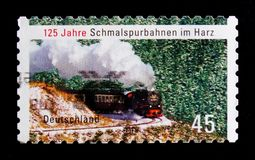 125 years in the Harz narrow-gauge railways, serie, circa 2012. MOSCOW, RUSSIA - OCTOBER 21, 2017: A stamp printed in German Federal Republic devoted to 125 Stock Photos