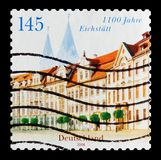 Residence Square and Cathedral, Eichstatt, 1100 anniversary serie, circa 2008. MOSCOW, RUSSIA - OCTOBER 21, 2017: A stamp printed in German Federal Republic Royalty Free Stock Images