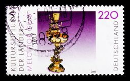 Silver table fountain, 1652-53, by Melchior Gelb, serie, circa 2000. MOSCOW, RUSSIA - OCTOBER 21, 2017: A stamp printed in German Federal Republic shows Silver Stock Photos