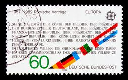 Shows C.E.P.T. - Historical events, serie, circa 1982. MOSCOW, RUSSIA - OCTOBER 3, 2017: A stamp printed in Germany Federal Republic shows C.E.P.T. - Historical Royalty Free Stock Photos