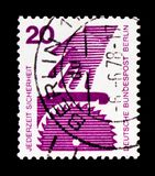 Circular saw, Prevent accidents serie, circa 1974. MOSCOW, RUSSIA - OCTOBER 21, 2017: A stamp printed in Germany Federal Republic shows Circular saw, Prevent Stock Photos