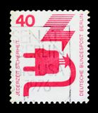 Defective plug, Prevent accidents serie, circa 1974. MOSCOW, RUSSIA - OCTOBER 21, 2017: A stamp printed in Germany Federal Republic shows Defective plug, Prevent Stock Photos