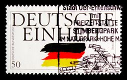 German unity, Reunification of Germany serie, circa 1990. MOSCOW, RUSSIA - OCTOBER 3, 2017: A stamp printed in Germany Federal Republic shows German unity Royalty Free Stock Photography
