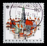 Nordlingen, 1100th Anniversary of Nordlingen serie, circa 1998. MOSCOW, RUSSIA - OCTOBER 3, 2017: A stamp printed in Germany Federal Republic shows Nordlingen Stock Images