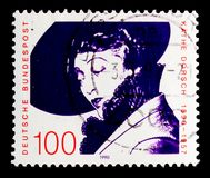 Portrait of Kathe Dorsch Actress, Birth Centenary serie, circa 1990. MOSCOW, RUSSIA - OCTOBER 3, 2017: A stamp printed in Germany Federal Republic shows portrait Stock Images