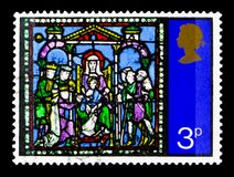 `Adoration of the Magi`, Christmas 1971 - Stained-glass Windows serie, circa 1971. MOSCOW, RUSSIA - OCTOBER 3, 2017: A stamp printed in Great Britain shows ` Stock Image