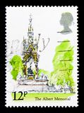 The Albert Memorial, London Landmarks serie, circa 1980. MOSCOW, RUSSIA - OCTOBER 3, 2017: A stamp printed in Great Britain shows The Albert Memorial, London Royalty Free Stock Images