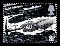 Hewing Coal Thomas Hepburn, Social Reformers serie, circa 1976. MOSCOW, RUSSIA - OCTOBER 3, 2017: A stamp printed in Great Britain shows Hewing Coal Thomas Royalty Free Stock Photo