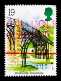 Ironbridge, Shropshire, Industrial Archaeology serie, circa 1989. MOSCOW, RUSSIA - OCTOBER 3, 2017: A stamp printed in Great Britain shows Ironbridge, Shropshire Stock Photography